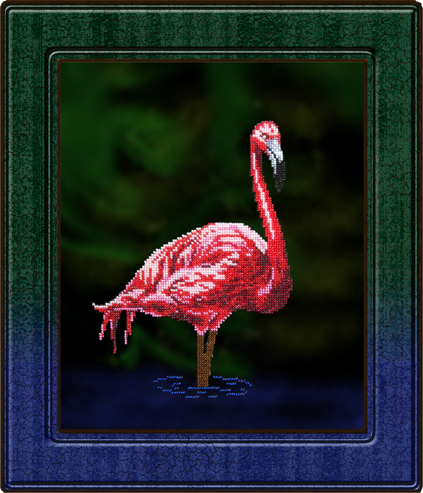 Вышиваем бисером фламинго